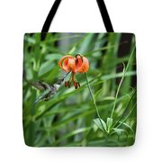 Hummingbird And Tiger Lilly Tote Bag