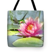 Hummingbird And Water Lily Tote Bag