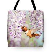 Hummingbird At Wisteria Tote Bag
