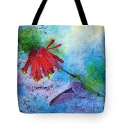 Hummingbird Batik Watercolor Tote Bag