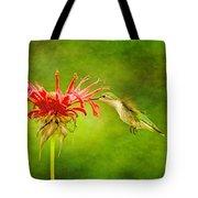 Hummingbird Bee Balm And Textures Tote Bag