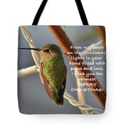 Hummingbird Christmas Card Tote Bag