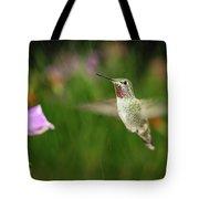 Hummingbird Hovering In Rain Tote Bag