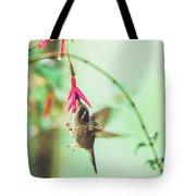 Hummingbird In Flight Sucking On A Juicy Pink Flower Tote Bag