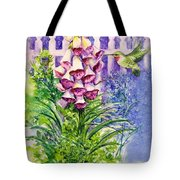 Hummingbird In Foxgloves  Tote Bag