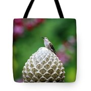 Hummingbird On Garden Water Fountain Tote Bag