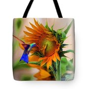 Hummingbird On Sunflower Tote Bag