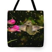 Hummingbird Visits Flowers In Raining Day Tote Bag