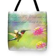 Hummingbird With Bible Verse Tote Bag