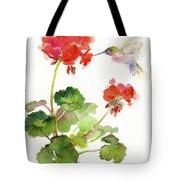Hummingbird With Geranium Tote Bag