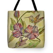 Hummingbirds And Hibiscus Tote Bag