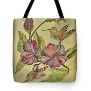 Hummingbirds And Hibiscus Tote Bag