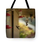 Hummingbirds In Flight Tote Bag
