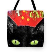 humorous Black cat painting Tote Bag