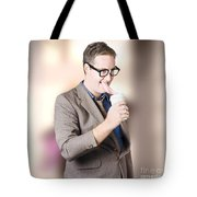 Humorous Businessman Licking Top Of Coffee Cup Tote Bag