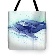 Humpback Whale Mom And Baby Watercolor Tote Bag