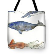 Humpback Whale, Right Whale And Squid Tote Bag