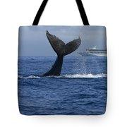Humpback Whale Tail Lobbing Near Cruise Tote Bag by Flip Nicklin