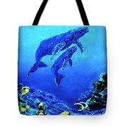 Humpback Whales Hawaii An Reef #14 Tote Bag