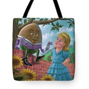 Humpty Dumpty On Wall With Alice Tote Bag