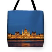 Hungarian Parliament Building At Night In Budapest Tote Bag