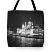 Hungarian Parliament Night Bw Tote Bag