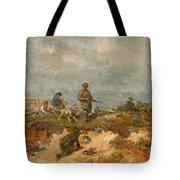 Hunters By A Fox-hole Tote Bag