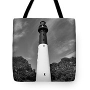 Hunting Island Lighthouse Beaufort Sc Black And White Tote Bag