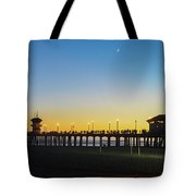 Huntington Beach High Surf At Night Tote Bag