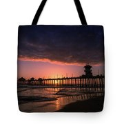 Huntington Pier At Sunset Tote Bag