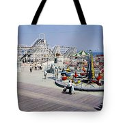 Hunts Pier On The Wildwood New Jersey Boardwalk, Copyright Aladdin Color Inc. Tote Bag