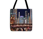 Hustle And Bustle Night Lights In Chicago Tote Bag