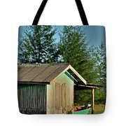 Hut With Green Boat Tote Bag