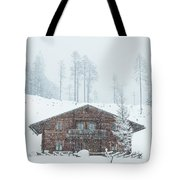 Huts And Winter Landscapes Tote Bag