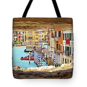 Hvar Bay Aerial View Through Stone Window Tote Bag