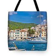 Hvar Yachting Harbor And Historic Architecture Panoramic  Tote Bag