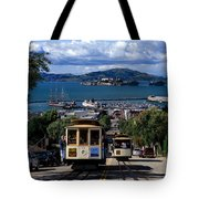 Hyde Street Cable Car Line And San Francisco Bay Tote Bag