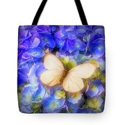 Hydrangea With White Butterfly Tote Bag