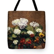 Hydrangeas And Wallflowers And Two Pots Of Pansies Tote Bag