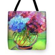Hydrangeas In A Glass Vase Tote Bag