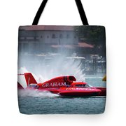 hydroplane racing boat on the Detroit river Tote Bag