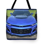 Hyper Blue Metallic 2017 Chevrolet Camaro Zl1 Tote Bag