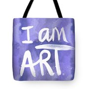 I Am Art Painted Blue And White- By Linda Woods Tote Bag