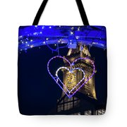 I Heart Boston Ma Christopher Columbus Park Trellis Lit Up For Valentine's Day Tote Bag
