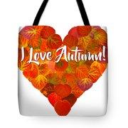 I Love Autumn Red Aspen Leaf Heart 1 Tote Bag