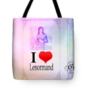 I Love Lenormand 3 Card Spread With Color Bg Tote Bag