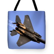 Iaf F15i Fighter Jet On Blue Sky Tote Bag