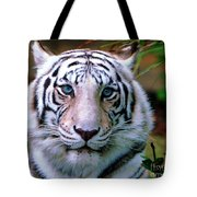 Ice Blue Eyes Of The Tiger Tote Bag