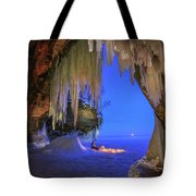 Ice Cave Setting Full Moon Serenity Tote Bag