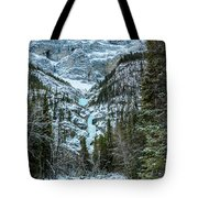 Ice Climbers Approaching Professor Falls Rated Wi4 In Banff Nati Tote Bag